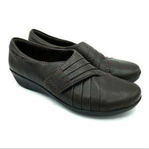 Clarks Everlay Drew Flat 5.5 Brown Leather Slip On